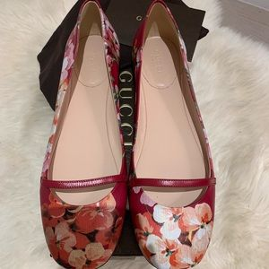 Gucci Blooms Leather Red Ballerina Flat EU38